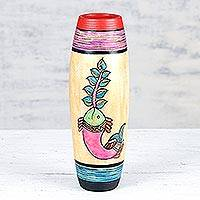 Ceramic vase, 'Aquatic Existence' - Hand-Painted Ceramic Fish Vase from India