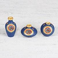 Ceramic mini decorative vases, 'Revelry' (set of 3) - Hand-Painted Mini Decorative Ceramic Vases (Set of 3)