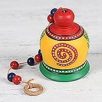 Ceramic bell, 'Exciting Sound' - Spiral Motif Ceramic Bell Decorative Accent from India