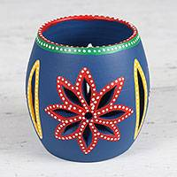 Ceramic tealight holder, 'Royal Enchantment' - Hand-Painted Floral Ceramic Tealight Holder from India