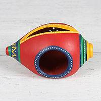 Ceramic tealight holder, 'Seashore Delight in Red' - Conch-Shaped Ceramic Tealight Holder from India