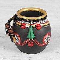 Ceramic mini decorative vase, 'Green Nose' - Warli Ceramic Mini Decorative Vase from India
