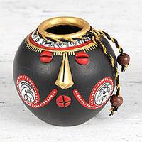 Ceramic mini decorative vase, 'Gold Nose' - Warli Motif Ceramic Mini Decorative Vase from India