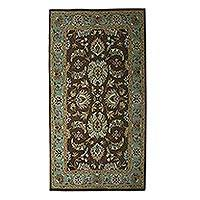 Wool area rug, 'Persian Grandeur' (5x8) - Hand-Tufted Floral Wool Area Rug (5x8) from India