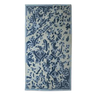 Blue And Grey Floral Wool Area Rug 5x8 From India Blue Majestic Garden Novica