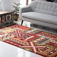 Wool area rug, 'Majestic Fantasy' (5x8) - Floral Wool Area Rug (5x8) Hand-Tufted in India