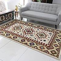 Wool area rug, 'Heritage and Style' (5x8) - Hand-Tufted Geometric Wool Area Rug (5x8) from India
