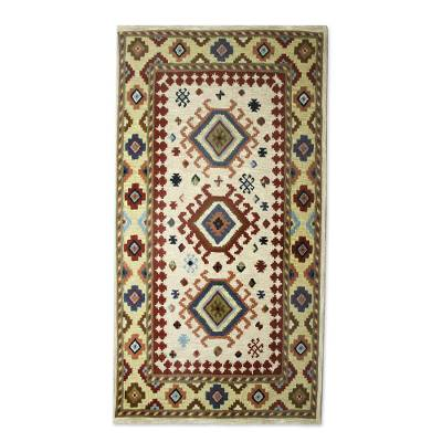 Hand Tufted Geometric Wool Area Rug 5x8 From India Heritage And