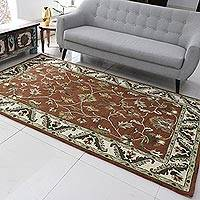 Wool area rug, 'Floral Persia' (5x8) - Brown and Ivory Floral Wool Area Rug (5x8) from India