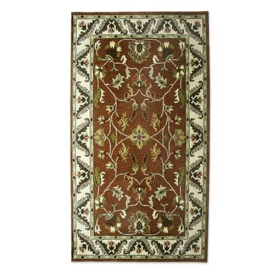 Brown And Ivory Floral Wool Area Rug 5x8 From India Floral