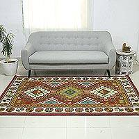 Wool area rug, 'Geometric Heritage' (5x8) - Multicolored Geometric Wool Area Rug (5x8) from India