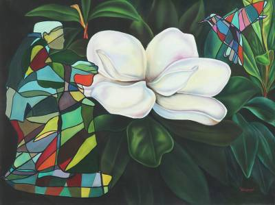 'Nature's Union' (2015) - Realist and Modernist Floral Painting (2015) from India