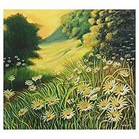 'Beautiful Nature' - Signed Floral Landscape Painting from India
