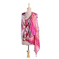 Silk shawl, 'Sizzling Sunrays' - Red and Multi-Color Striped Hand Printed 100% Silk Shawl