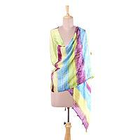 Silk shawl, 'Spring Carnival' - Block-Printed Striped Silk Shawl Crafted in India