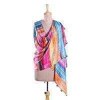 Silk shawl, 'Carnival Party' - Bright Multi-Color Striped Hand Printed 100% Silk Shawl