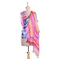 Silk shawl, 'Color Carnival' - Bright and Colorful Striped Hand Printed 100% Silk Shawl