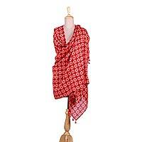 Cotton and silk blend shawl, 'Red Floral Mosaic' - Crimson Cotton and Silk Floral Indian Block Print Shawl