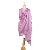 Cotton and silk shawl, 'Floating Bubbles' - Pink Cotton and Silk Floating Bubble India Block Print Shawl