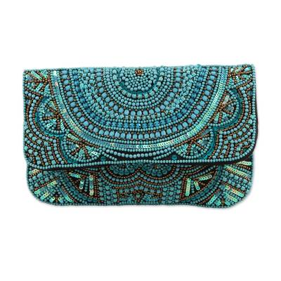 Turquoise Beaded and Sequined Silk Evening Clutch from India