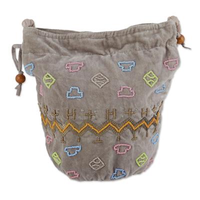 Novica Velvet bucket shoulder bag, Beaded Boho