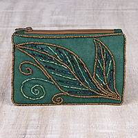 Beaded clutch, 'Enchanting' - Pine Green Cotton and Silk Clutch with Leaf Motif Beading