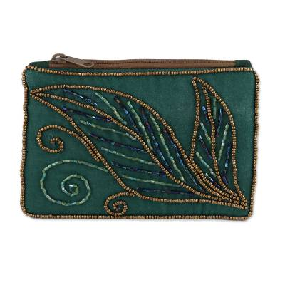 Pine Green Cotton and Silk Clutch with Leaf Motif Beading