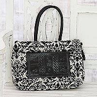 Leather accented cotton handbag, 'Elegant Embellishment' - Black and White Leather Accent Cotton Handle Handbag
