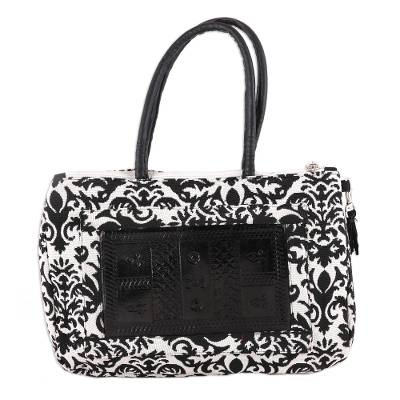 Black and White Leather Accent Cotton Handle Handbag