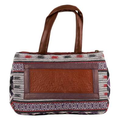 Ivory, Red, Purple Woven Cotton Leather Accent Handbag