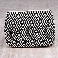 Cotton cosmetic bag, 'Taking Direction' - Black and White Geometric Pattern Cotton Cosmetics Bag