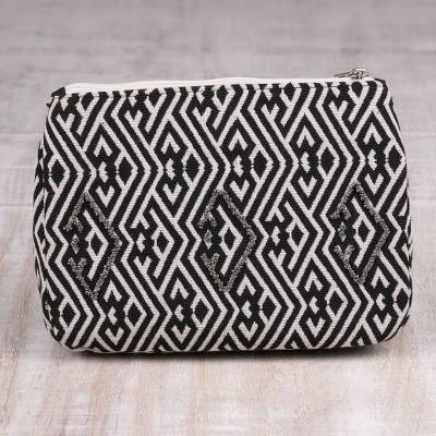 Black And White Geometric Pattern Cotton Cosmetics Bag Taking Direction