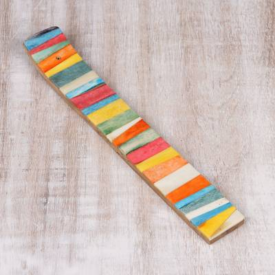 Wood incense holder, 'Colorful Fantasy' - Multicolor Resin Striped Wood Incense Holder from India