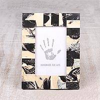 Resin photo frame, 'Modern Fantasy' (4x6) - Black and Beige Resin Photo Frame (4x6) from India