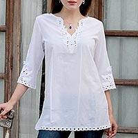 Cotton tunic, 'White Simplicity' - White Cotton Floral Embroidered Three-Quarter Sleeved Tunic