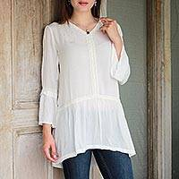 Viscose tunic, 'Simple Bliss' - Long-Sleeved White 100% Viscose Tunic with Lace Trim