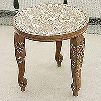 Wood end table, 'Elephant Fanfare' - Handcrafted Elephant Motif Wood End Table from India