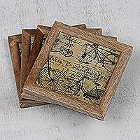 Wood and paper coasters, 'Travel Nostalgia' (set of 4) - Travel-Themed Wood and Paper Coasters (Set of 4) from India