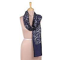 Ikat silk scarf, 'Ikat Party in Indigo' - Handwoven Ikat Silk Scarf in Indigo from India
