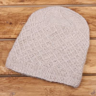 Cashmere Knit Hat in Oatmeal from India - Ladakh Style  2cad10bc232