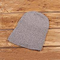 Cashmere hat, 'Winter Promise' - Knit Cashmere Hat in Taupe from India