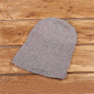 a17e686828c Knit Cashmere Hat in Taupe from India - Winter Promise
