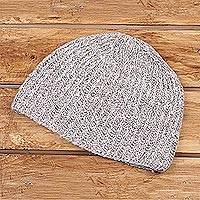Cashmere hat, 'Winter Fusion' - Knit Cashmere Hat in Taupe and Ivory from India