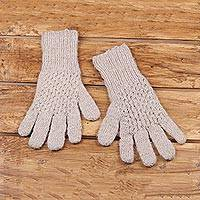 Cashmere gloves, 'Trendy Taupe' - Knit Cashmere Gloves in Taupe from India