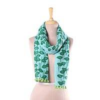 Cotton scarf, 'Lotus Dreams' - Green Cotton Wrap Scarf with Printed Lotus Motifs