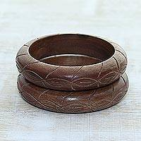 Wood bangle bracelets, 'Pretty Duo' (pair) - Hand Carved Wood Bangle Bracelet Duo from India (Pair)