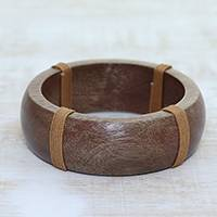 Wood bangle bracelet, 'Casual Charm' - Smooth Wood Bangle Bracelet Wrapped with Brown Cotton Cord