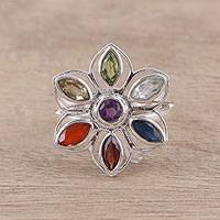 Multi-gemstone cocktail ring, 'Floral Rainbow' - Rainbow Faceted Multi-Gemstone Sterling Silver Cocktail Ring