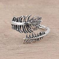 Sterling silver wrap ring, 'Magical Leaf' - Sterling Silver Paisley Feather Leaf Wrap Ring