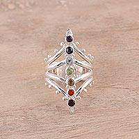 Multi-gemstone cocktail ring, 'Prism Chakra' - Rainbow Chakra Sterling Silver Multi-Gemstone Cocktail Ring